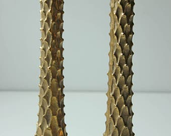 Pair of vintage tall solid brass candle sticks