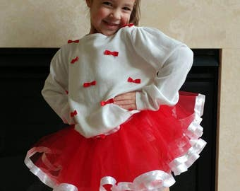 Little girls tutu! Ribbon trim tutu! Princess skirt. Birthday outfit! Dance recital.