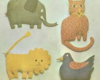1970s Stuffed Pillow Toys Primitive Animals McCalls Sewing Pattern 4279 Elephant, Lion, Cat and Chicken UnCut Vintage Toy Pattern