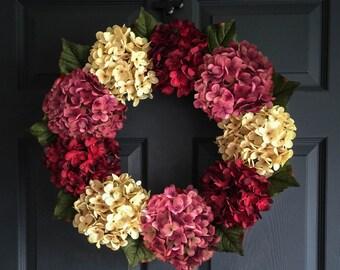 Wreath | Beautiful Hydrangea Wreath | Outdoor Wreaths | Front Door Wreaths | Door Wreath | Housewarming Gift