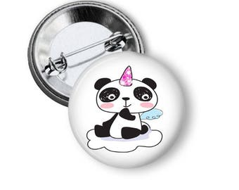 Cute panda bear 1.25 inch Pinback button custom pin back buttons panda party favors pin back buttons Panda pin badge birthday favors