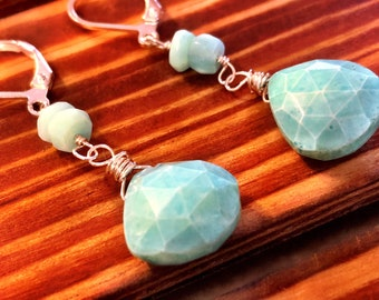 Simple, elegant, sterling silver earrings with vibrant peruvian opal gems.