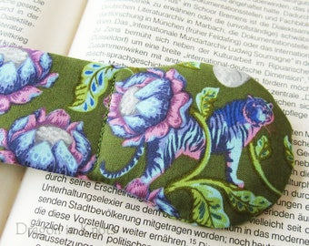 Tiger Book Weight - Olive Green Page Holder, Weighted Bookmark, pink aqua purple lotus flowers, Asian floral cotton book accessory
