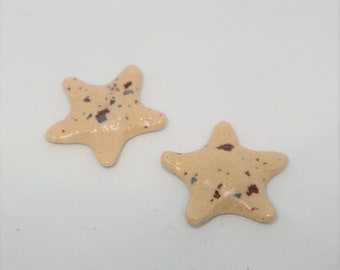 Handmade Ceramic Cabochons Earthenware small tiny pair Starfish beige speckle