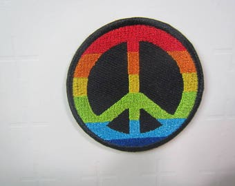 Rainbow Peace Symbol  –  Peace Symbol – Peace Sign - Iron on patch.