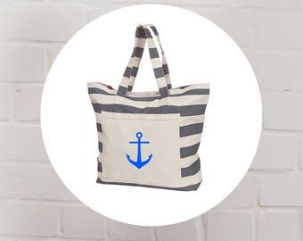 Bag-shopper-shopping bag-beach bag-shoulder bag-strip-print