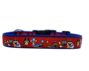 1 Inch Wide Dog Collar with Adjustable Buckle or Martingale in Friends in Hat
