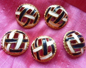 5 blue white enameled gold metal buttons * 3 cm * before 2000