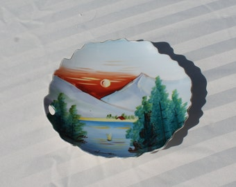 Vintage Hand Painted Porcelain Plate Wall Hanging - Signed by Japanese Artist Huruto