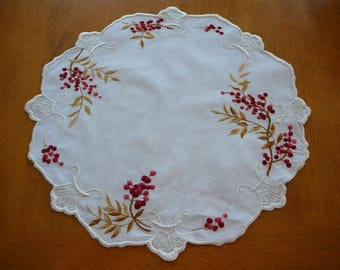 Vintage table or dresser linen - embroidered exquisite design