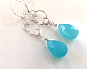 Rain Cloud Charm Earrings in Aqua Blue Chalcedony, Raindrop earrings, cloud earrings, blue