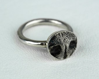 Dog Nose Ring Sterling Silver Mini Dog Nose Print