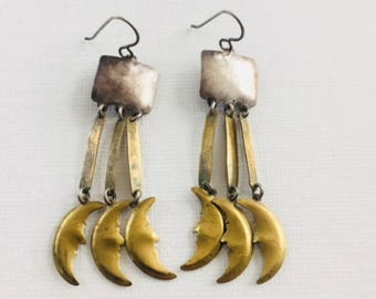 Vintage Sterling Silver and Brass Moon Earrings