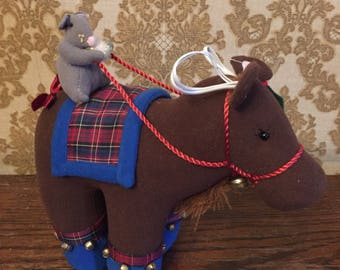 Christmas Mouse Riding a Cute Horse