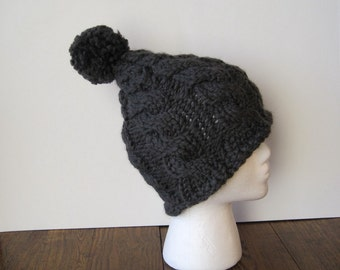 Cable Knit Pixie Beanie With Large PomPom Puff - Dark Grey - Hand Knit in Wool Blend Yarn