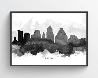 Austin Texas Skyline Poster, Austin Cityscape, Austin Print, Austin Art, Austin Decor, Home Decor, Gift Idea, USTXAU11P
