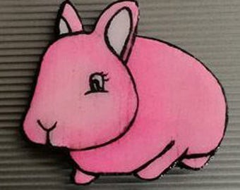 Pink Rabbit Magnet, Sunnymixedmedia