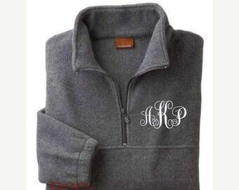 Monogrammed Fleece Pullover, Monogram Fleece Jacket, Personalized Pullover, Monogram Sweatshirt, Monogrammed Half-Zip Jacket-Adult UNISEX