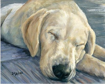 Labrador Retriever Dog Art Print of Original Painting by Dottie Dracos, Yellow Lab Puppy Sleeping