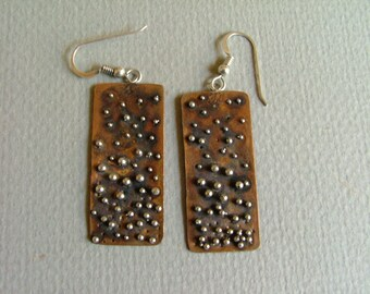 Earrings: Copper and Sterling Silver Earrings with Faux Granulation.
