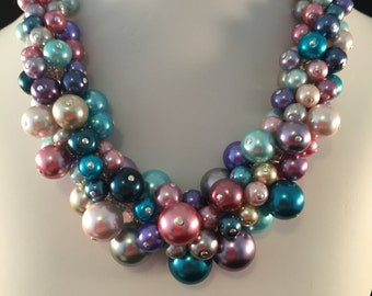 Multi-Color Rainbow Pearl Cluster Necklace - Chunky, Choker, Bib, Necklace, Wedding, Bridal, Bridesmaid, Prom, Formal