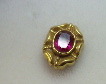 Vintage 18K Yellow Gold Ruby SINGLE Post Back Earring....Marked 750...Lovely 18K Gold Border Surrounds Ruby