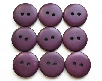 eco friendly non decorative eggplant purple smooth matte buttons--matching lot of 9