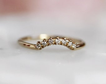 "14K Gold & Diamond Curved Wedding Band, ""Crown"" Wedding Band, Stacking Ring, Diamond Wedding Band, Gold Wedding Band, Boho, Chic, Bridal"