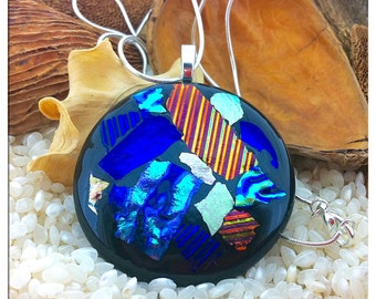 "Large Dichroic Glass Black Multi Coloured  Pendant Necklace - 23"" Silver Pt Chain with Gift Box"