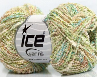 wool ICE MALIBU turquoise green cotton and 50g fingering cream 3 / / 37