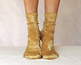 Golden Yellow Velvet Socks. Handmade Women's Socks. Homemade Socks