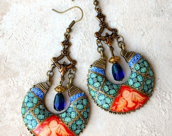 Earrings Chandelier Portugal Antique Azulejo Tile Portuguese Ilhavo - Dove Frescoes - Sintra Palace Chapel - Persian Bohemian Atrio Jewelry