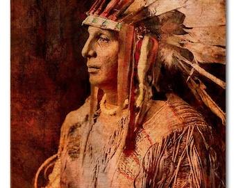 Fine Art Print of 'Cree Warrior'. Native American Indian. American West, war bonnet, feathers, male portrait, vintage wall art. JoWalshArt