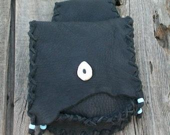 Black hip bag ,   Leather hip bag ,   Black leather bag , Leather belt bag , Black leather