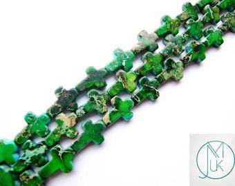 Green Impression Jasper Cross Gemstone Beads Jewellery Making 13x18mm 20pcs FREE UK SHIPPING