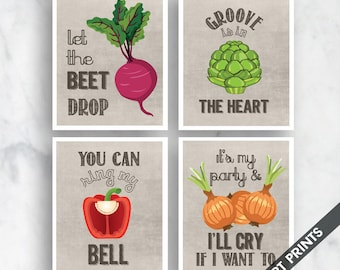 The Heart, Ring Bell, Beet Drop, I'll Cry (Funny Kitchen Song Series) Set of 4 Art Prints (Featured in Vintage Linen) Kitchen Art