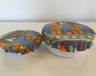 Reusable Eco-Friendly Fabric Picnic Food Snack Bowl Covers Lids Noah's Ark (Set of 2)
