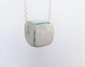 Grey Ceramic Cube Pendant Necklace // Handmade Ceramic Jewelry // Gift for Her Ideas Woman Lady // Trendy Geometric Elegant Modern Fashion
