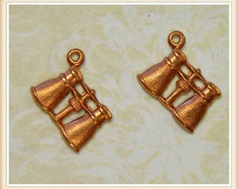 2 pieces binocular charm brass, raw brass, bird watcher, embellishment, vintage #A-8