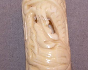 Carved Bone, Cylinders, Drilled, 50mm x 25mm