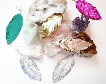 Feather Earrings Leather, Boho Earrings, Leather Feather, Hippie, Boho Bride, Festival Jewelry, Bridesmaids, Festival, Boho, Gypsy Bohemian