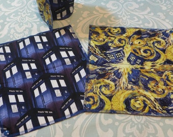 TARDIS (Doctor Who) Unpaper Towels, reusable paper towels (set of 8)