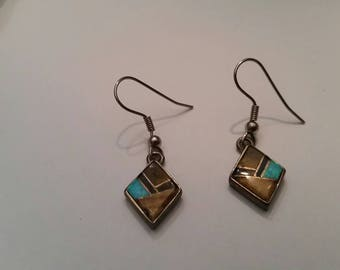 Native American TSF Touch of Santa Fe  Earrings Inlay Sterling Silver