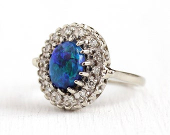 Opal & Diamond Ring - 14k White Gold Vintage Diamond Halo Cluster - Size 5 1/4 1940s Mid Century Fine 1.16 CT Blue Opal Gemstone Jewelry