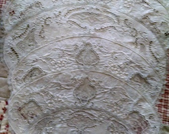 7 early 20 th century cutwork doilies with filet lace inserts and filet lace edging