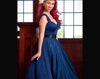 sale! 3 Piece Set!  Mid Calf Length, Navy Blue BRIDESMAID Multi-Way Swing Dress, Retro Tulle Petticoat and Satin Ribbon Sash