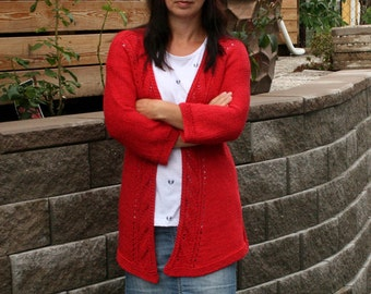 Knit cardigan PDF pattern, knit in one piece, summer cardigan Poppy Girl, Digital PDF file download, four cardigans in one, knit yourself