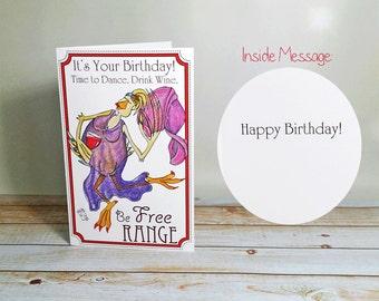 Carte d'anniversaire être libre parcours danse vin célébrer