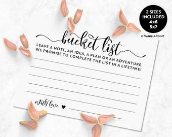 Bucket List Wedding Cards, Bucket List Cards For Wedding Bucket List Cards Printable Wedding Advice Cards For The Bride And Groom Download