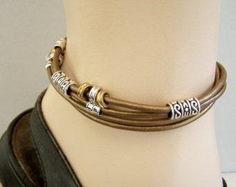 Double Wrap Unisex Ankle Bracelet, Metallic Copper Color Leather, Petite to Plus Size